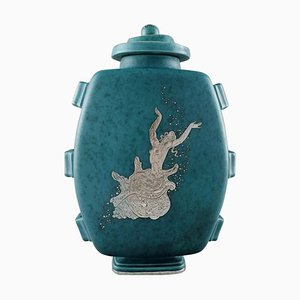 Large Art Deco Argenta Lidded Vase in Ceramic by Wilhelm Kåge for Gustavsberg, 1940s