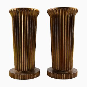 Large Art Deco Tinos Candlesticks in Bronze, Denmark, 1940s, Set of 2