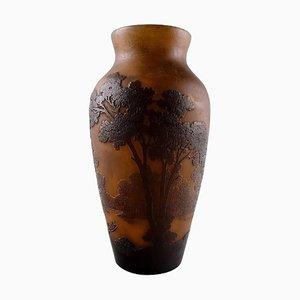 Französische Kunstglas Vase mit Bäumen von Emile Gallé, 1900er