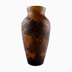 French Art Glass Vase Decorated with Trees by Emile Gallé, 1900s