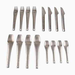 Scandinavian Modernist Stainless Steel Cutlery, 1970s, Set of 16