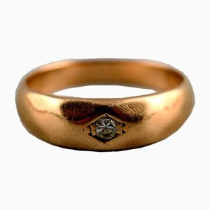 Gold Ring 14-Karat with Brilliant Cut Diamond by Bræmer-Jensen, 1970s