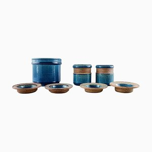Glazed Stoneware Vase & Small Bowls from Kähler, Denmark, 1960s, Set of 7