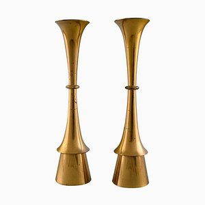 Danish Candleholders in Brass in the Style of Jens Quistgaard, 1960s, Set of 2