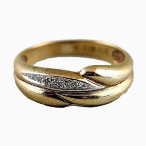 Gold Eternity Ring 8-Karat with Small Stones, 1930s