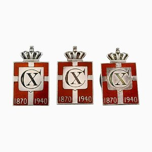 King Christian Ten Jubilee Pins Made in Sterling Silver from Georg Jensen, 1940s, Set of 3