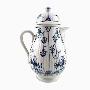 19th Century German Blue Fluted Mocha Jug in Porcelain