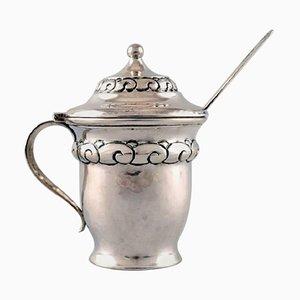 Art Nouveau Danish Silver Mustard Jar with Ornamentation from Heimburger, 1916