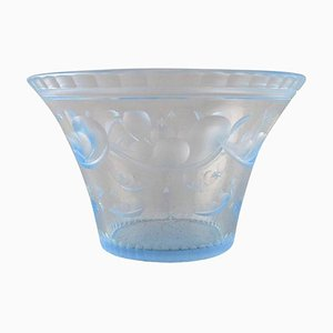 Art Deco Bowl in Satin-Cut Light Blue Art Glass by Simon Gate for Orrefors, 1928