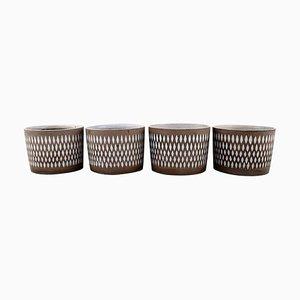 Flowerpots in Glazed Ceramic by Ingrid Atterberg for Upsala-Ekeby, Set of 4