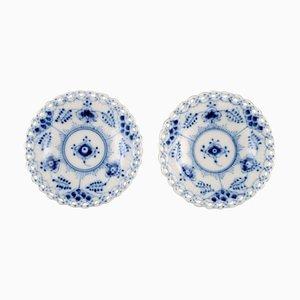 Royal Copenhagen Blue Fluted Full Lace Butter Pads in Porcelain, 1960s, Set of 2