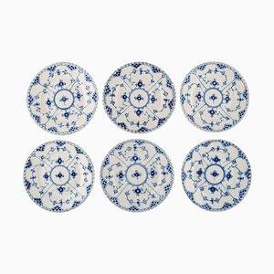 Royal Copenhagen Blue Fluted Full Lace Plates in Porcelain, 1970s, Set of 6