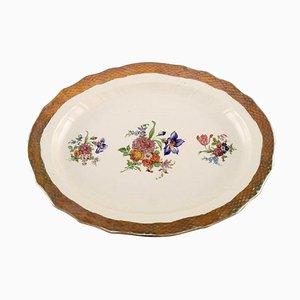 Royal Copenhagen Servierteller aus Porzellan mit floralen Motiven und goldenem Rand