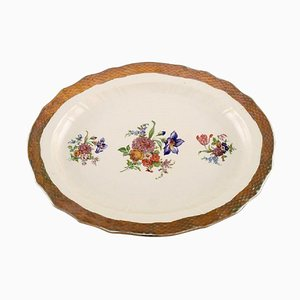 Royal Copenhagen Serving Dish in Porcelain with Floral Motifs and Gold Border