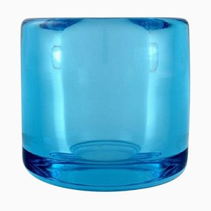 Turquoise Vase in Mouth-Blown Art Glass by Per Lütken for Holmegaard, 1960s
