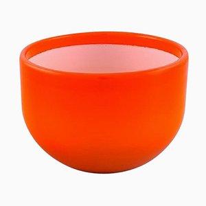 Grand Bol Palet en Verre d'Art Orange et Blanc par Michael Bang pour Holmegaard, 1960s