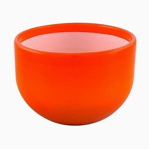 Large Palet Bowl in Orange and White Art Glass by Michael Bang for Holmegaard, 1960s