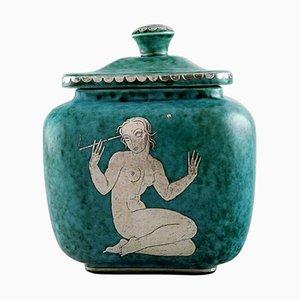 Large Argenta Art Deco Ceramic Lidded Jar by Wilhelm Kåge for Gustavsberg, 1940s