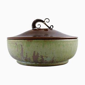 Jar in Glazed Ceramic with Bronze Lid by Arne Bang, Denmark, 1940s