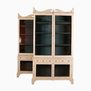 Country House Glazed Bookcases, Set of 2