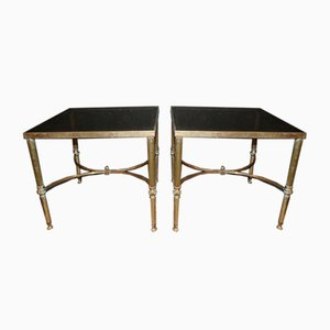 Brass and Glass Tables, 1950s, Set of 2