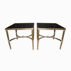 Tische aus Messing & Glas, 1950er, 2er Set