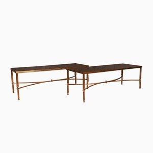 Niedrige Messing & Glas Tische, 1950er, 2er Set