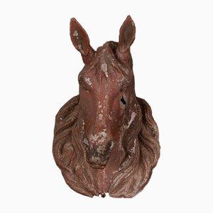 Antiker französischer Zink Pferdekopf