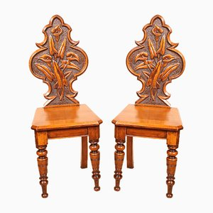 Antique Art Deco English Hall Chairs, Set of 2