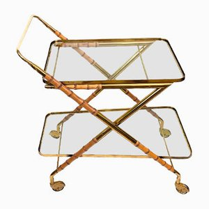 Mid-Century Lacquered Bamboo and Brass Bar Cart with Glass Tops by Cesare Lacca, 1970s