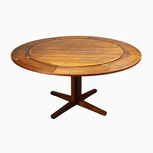 Round Extendable Rosewood Flip Flap Lotus Dining Table from Dyrlund, 1970s