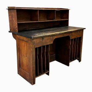 19th Century Poplar Wood Post Office Counter