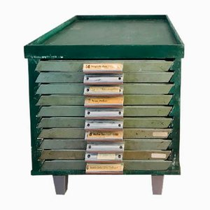 Vintage Dutch Printers Cabinet with Drawers, 1970s