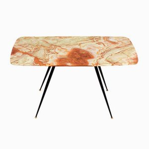 Mid-Century Italian Pink and Green Onyx Marble Coffee Table with Brass Tips, 1950s