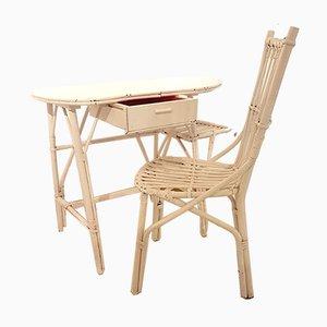 Französischer Freiformbarer Rattan Schreibtisch und Stuhl Set von Louis Sognot, 1950er, 2er Set