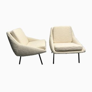 Mid-Century French Model 800 Lounge Chairs by Joseph-André Motte for Steiner, 1950s, Set of 2