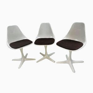 Brown Model 115 Tulip Swivel Dining Chairs by Maurice Burke for Arkana, 1960s, Set of 3