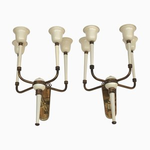 Italian Brass and Ivory Enamel Sconces Attributed to Guglielmo Ulrich, 1940s, Set of 2