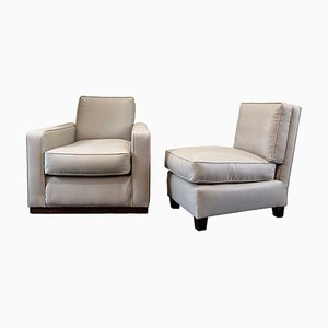 Art Deco Linen Armchairs, Set of 2
