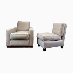 Art Deco Linen Armchairs, Set of 2