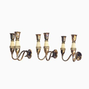 Mid-Century Italian Brass and Enameled Metal Sconces in the Style Gio Ponti, 1950s, Set of 3