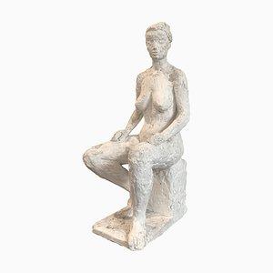 Mid-Century Plaster Nude Woman Sculpture