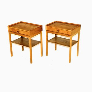 Swedish Oak Nightstands, 1960s, Set of 2