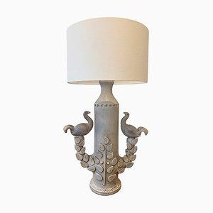 Große Mid-Century Keramik Taube Tischlampe von S. Marchal