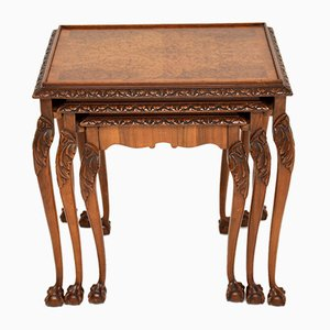 Antique Queen Anne Style Burl Walnut Nesting Tables, 1920s