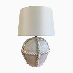 Lampada da tavolo grande Mid-Century in corda di ceramica