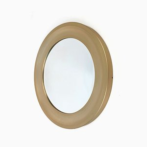 Italian Round Golden Aluminum Beveled Mirror by Sergio Mazza for Artemide, 1970s