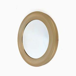Italienischer runder goldener abgeschrägter Aluminium Spiegel von Sergio Mazza für Artemide, 1970er