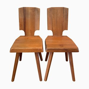 Vintage Model S28 Dining Chairs by Pierre Chapo, Set of 2