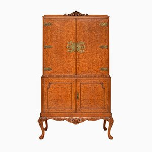 Antique Queen Anne Style Burl Walnut Cocktail Cabinet, 1930s
